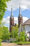 View of a church of the Holy Heart of Jesus 1910. Rybinsk, Yaroslavl region.  stock photography