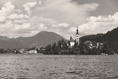 View of Church on the island on lake Bled stock image