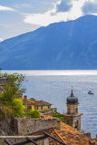 View of the church of Limone Sul Garda Royalty Free Stock Images