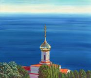 View on the church located on the sea shore among the trees. Wide view on the sea and very distant horizon. Calm water, sunny day, soft colors. Oil painting Royalty Free Stock Photos
