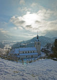 View of the church near Gruyere castle Stock Images
