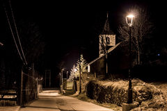 View of the church at night. The village church illuminated at night Royalty Free Stock Photo
