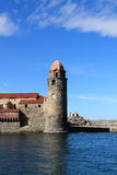 View church of notre dame in collioure by mediterranean sea, south france Stock Images