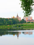 View of the Church Ramenskoye from the side of the lake. Royalty Free Stock Photography