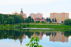 View of the Church Ramenskoye from the side of the lake. Royalty Free Stock Images
