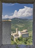 View of the church of Roccascalegna near the castle royalty free stock photo
