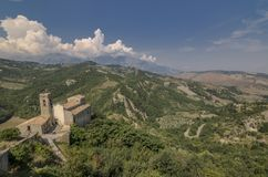 View of the church of Roccascalegna near the castle royalty free stock photography