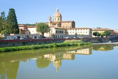 View of the Church of San Ferdiano al Cestello from the Arno river. Florence, Italy Stock Photo