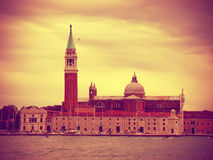 View of the Church of San Giorgio Maggiore, vintage toned Royalty Free Stock Images