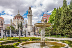 View at the Church of San Manuel and San Benito from Retiro Park in Madrid royalty free stock photo