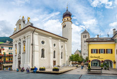 View at the Church San Michele of San Candido. Royalty Free Stock Photos