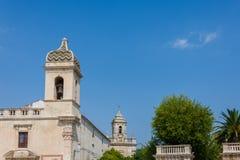 View of the church San Vincenzo Ferreri and  Church of San Giaco. Mo St. James in the communal gardens Giardini Iblei in Ragusa Ibla, Sicily, Italy Royalty Free Stock Photos