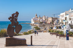 View on the Church of Sant Bartomeu and Santa Tecla in Sitges Royalty Free Stock Photos