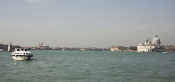 View of the Church of Santa Maria della Salute from the boat. Ve Stock Photography
