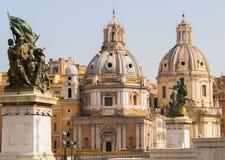 View of Church of Santa Maria di Loreto. View of the two domes of the Church of Santa Maria di Loreto. Rome, Italy Royalty Free Stock Photos