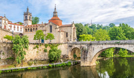 View at the church of Sao Domingos and monastery Sao Goncalo in Amarante ,Portugal Stock Image