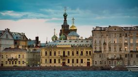 View Church of the Savior on Blood in Saint Petersburg from Neva river. stock video footage