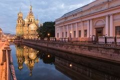 View Of Church On Spilled Blood At Night Stock Photography