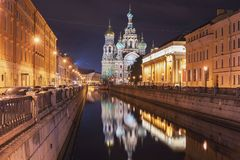View Of Church On Spilled Blood At Night Stock Images
