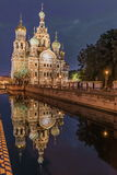 View Of Church On Spilled Blood At Night Stock Photos