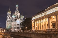 View Of Church On Spilled Blood At Night Royalty Free Stock Photography