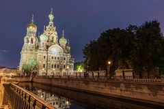 View Of Church On Spilled Blood At Night Royalty Free Stock Images