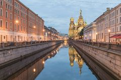View Of Church On Spilled Blood At White Night Stock Photo