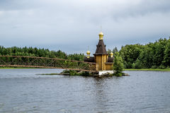 View of the Church of St. Andrew on the island on the lake Vuoks. Karelia.Russia.15 Aug 2016 .View of the Church of St. Andrew on the island on the lake Vuoksa Royalty Free Stock Image