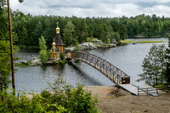 View of the Church of St. Andrew on the island on the lake Vuoks. Vasiliyevo.Russia.15 Aug 2016 .View of the Church of St. Andrew on the island on the lake Royalty Free Stock Image