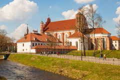 View of Church of St. Francis and St. Bernard over the river Vil Royalty Free Stock Photography