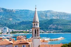 View of Church of St Ivan, Budva old town, mountains and sea. Montenegro. View of Church of St Ivan, Budva old town, mountains and sea royalty free stock image