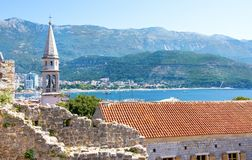 View of Church of St Ivan, Budva old town, mountains and sea. Montenegro. View of Church of St Ivan, Budva old town, mountains and sea stock images