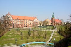 View of Church of St Jan Chrzcicela and Gymnasium No. 1 in Gniezno Royalty Free Stock Photo