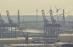 Port of Hamburg, Panorama view Royalty Free Stock Photography