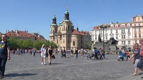 View of the Church of St. Mikulas St. Nicholas. Old town square, Prague stock footage