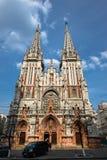 View on Church of St. Nicholas in Kiev, Ukraine. Gothic church situated on Vasilyevskaya street royalty free stock photos
