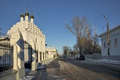 View of Church of St. Nicholas on Posada - Orthodox Old Believers Church at winter day. Architectural style - Russian uzorochie -. KOLOMNA, RUSSIA - 10 March royalty free stock images