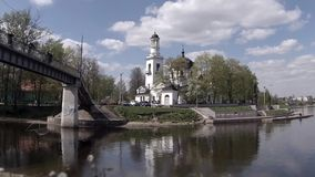 View of the Church of Sts. Alexander Nevsky  time lapse Royalty Free Stock Photo