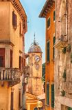 View of church tower in in the old town Labin in Istria, Croatia. It is sunny day in summer stock photography