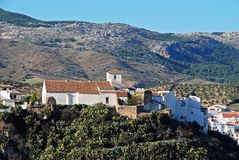 El Burgo church and town, Spain. Stock Images