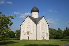 View of the Church of the Transfiguration on Ilyin sunny day in July. Veliky Novgorod Stock Photo