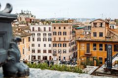 View from the church of Trinita dei Monti at Spanish Steps Piazza di Spagna. Rome, Italy, 15.03.2015 royalty free stock photos