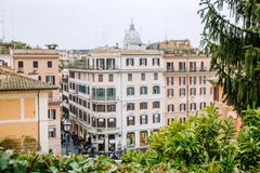 View from the church of Trinita dei Monti at Spanish Steps. Piazza di Spagna. Rome, Italy Stock Photos