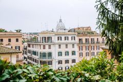 View from the church of Trinita dei Monti at Spanish Steps. Piazza di Spagna. Rome, Italy Royalty Free Stock Image