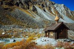 View on chapel Saint Michael near mountainBelukha stock images