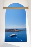 View through church window in Fira to caldera sea, Santorini Stock Photos