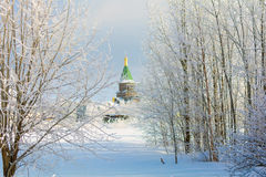 View of the Church in the winter. The winter Church by tree branches on a Sunny day royalty free stock image