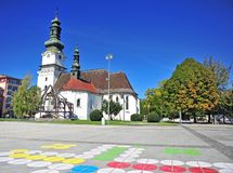 View of a church in Zvolen city centre. Slovakia royalty free stock image