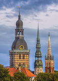 View on churches of Old Riga Stock Photo