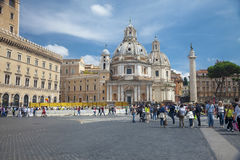 View of churches in Piazza Venezia in Rome Royalty Free Stock Images